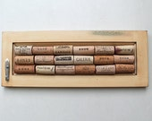 Cork Message Board - Reclaimed Wood - Distressed Wood - Wall Hook - Recycled Wine Corks - Yellow Eco Friendly Decor