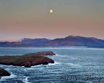 a full moon over waterville.kerry,ireland