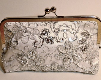 SALE Bridal Clutch Silver Princess Beaded and sequined Clutch Floral Pattern READY to SHIP