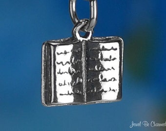 Book Charm Sterling Silver Novel for Readers Book Lovers Solid .925