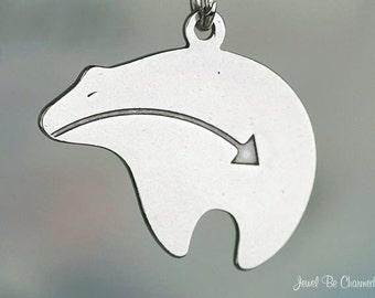 Heartline Bear Charm Sterling Silver Two-Sided Zuni Bears Solid .925