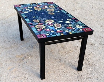 Rectangle, Sunflower Blue Jay Floral Mosaic Tile Table. Individually  Handmade Ceramic Mosaic Art Tiles