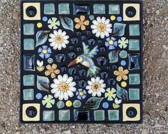 """10"""" square handmade mosaic Art Tile Trivet"""