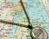 Mobile, Alabama 1958 Map Necklace. Map Pendant. Map Jewelry.