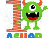 Party Monster Birthday Iron on Transfer,Little Boy, Little Girl Birthday Iron on, Heat Transfer, DIY Iron on, Child's Iron On, Birthday