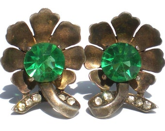 Sterling Silver & Green Rhinestone Flower Clip On Earrings with Tiny White Rhinestones- Vintage Jewelry Signed Sterling 925