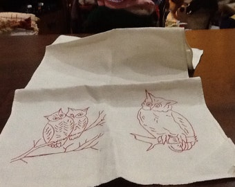 Vintage Owls Tea Towel Kitchen Towel Large Tea Towel Embroidered Red Work