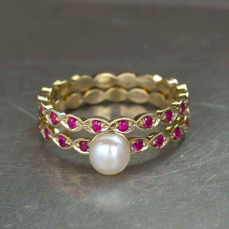 Pearl Wedding Rings: Pearl Engagement Ring Ruby Wedding Set In 14k Yellow Gold