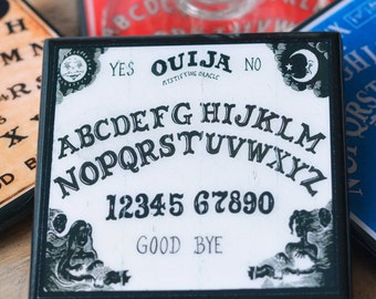 Ouija Board Coaster Set, Halloween Decor, Wood Drink Coasters, Halloween Party Favor, Set of Four, Unique Halloween Hostess Gift