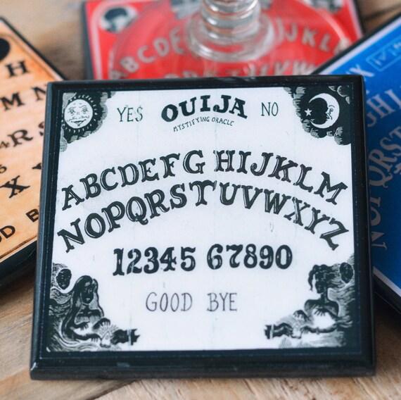 Ouija Board Coaster Set, Halloween Decor, Wood Drink Coasters, Halloween Party Favor, Set of Four, Unique Halloween Hostess Gift