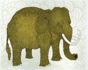 Woolly Mammoth Screenprint 18x24