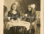 Sweet friends share tea - Vintage photo for instant download