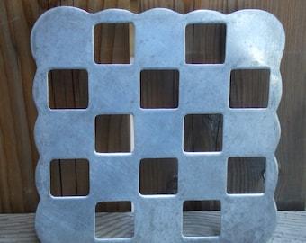 Vintage Aluminum Kitchen Trivet or Wall Decor. Squares Grid.