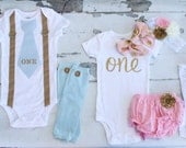"Twins Baby Boy & Baby Girl 1st Birthday Sets.  Boy ""ONE"" Tie w Suspenders,  Girl Floppy Bow Bodysuits, Leg Warmers, Diaper Cover, Headband"
