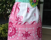 Apron made from Vintage Tablecloth, Pink Heart Border with Michael Miller and Tina Givens Accents