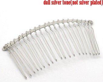 5 pcs. - Silver Tone Comb Hair Clips - 3 x 1.5 in