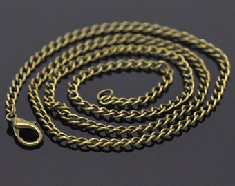 """1 pc. Antique Bronze Textured Chain Link Necklace 20"""" - (3.5 x 2.6mm Links) - Lobster Clasp - Claw Clasps"""