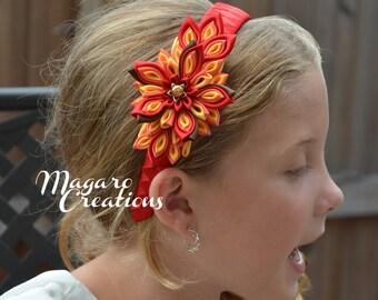 Girl headband,kanzashi,kanzashi headband,autumn headband,fall headband,flower headband,headband with flower,toddler headband,women headband,