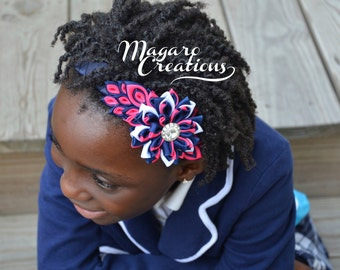 Pink headband,kanzashi,headband,girl hair accessory,girl headband,headband for girls,flower headband,headband with flowers,toddler headband