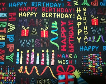 Happy Birthday Celebration fabric Sold per Half Yard fot Quilting, Crafting, Jewlery,Party Favors,Confetti, Bunting, Banners, Birthday Party