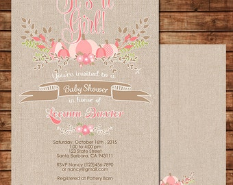 Pink Pumpkin Baby Shower Invitation for Baby Girl, Country, Rustic Theme with Burlap, Digital File or Printed Invitation C172