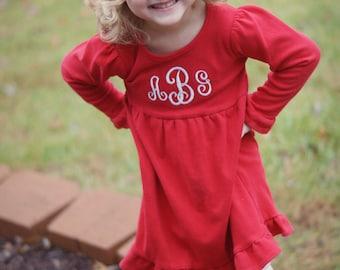 Red Ruffle Monogram Dress - Holiday Red - Empire Waist - Christmas, Thanksgiving, Valentine's Day - Girls, Toddler, Baby