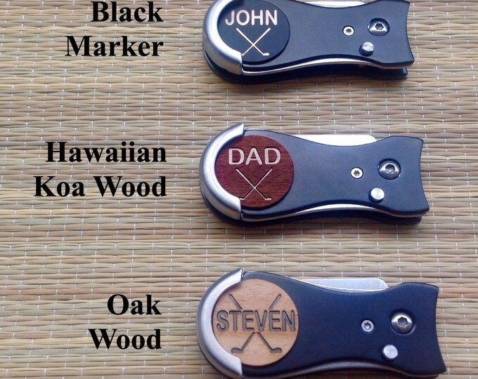 Personalized Golf Ball Marker & Golf Divot Tool - Switch Blade Style, Father's Day Golf Gift for Men,Groomsmen Gift Golf,Dad Gift,Men's Gift