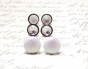 Silver Post Earring Set. Tiny Stud Earrings. Everyday Earrings Set. Resin Stud Post Earrings. Winter White. Resin Stud Earrings.