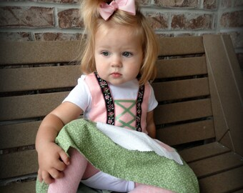 Baby Dirndl in Pink and Green (Liesel costume, Halloween Costume, Oktoberfest)