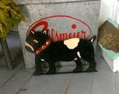 Vintage Boston Terrier Bulldog Folk Art Handmade Wooden Tie Rack Towel