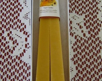 Natural Handmade Beeswax Candles - obelisk / pyramid taper pair
