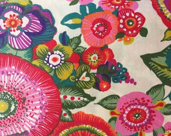 Tropical Flowers- Rico cotton Quilting weight retro curtains 160cm wide