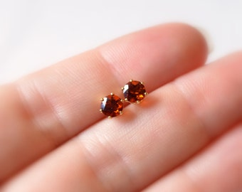 Orange Citrine Stud Earrings, Real Gemstone, 5mm Genuine Stone, November Birthstone Jewelry, Gold Filled, Free Shipping