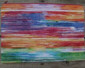 Painted Rainbow Brushstrokes, Medium Fabric Zippered Pouch, Ready to Ship