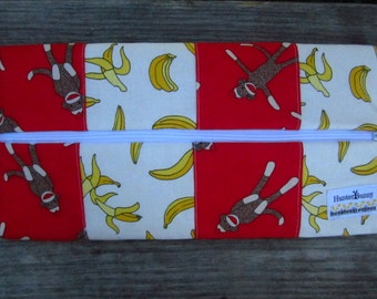 Sock Monkey Large Fabric Zippered Pencil Pouch, Lobster Clasp, Ready to Ship
