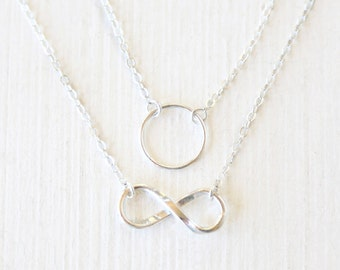Sterling Silver Branch and Stamped Arrow Layering Necklaces Set // Everyday modern simple jewelry