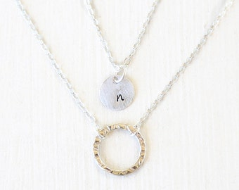 Sterling Stamped Initial Circle and Hammered Sterling Circle Layering Necklaces Set // Everyday modern simple jewelry