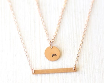 Rose Gold Hammered Thin Bar and Initial Disc Necklace Set / everyday simple minimalist jewelry