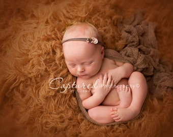 Leighton Heritage Newborn Stretch Wrap IN STOCK Ready to Ship Brown Natural Organic Knit Premium Photography Prop Rustic Fall Layer Pose