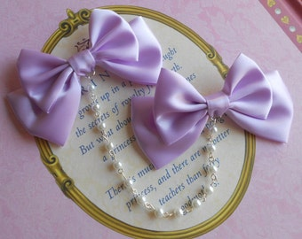 Sweet Lolita Hair clips lavender bows with white pearl beads fairy kei
