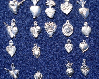 Charm Milagros Hearts  Assorted Silver Tone Hearts Wholesale 25