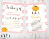 Little Pumpkin Baby Shower - Book Instead of a Card - Baby shower Game - Fall Thanksgiving baby shower - Pink Pumpkin Baby Shower