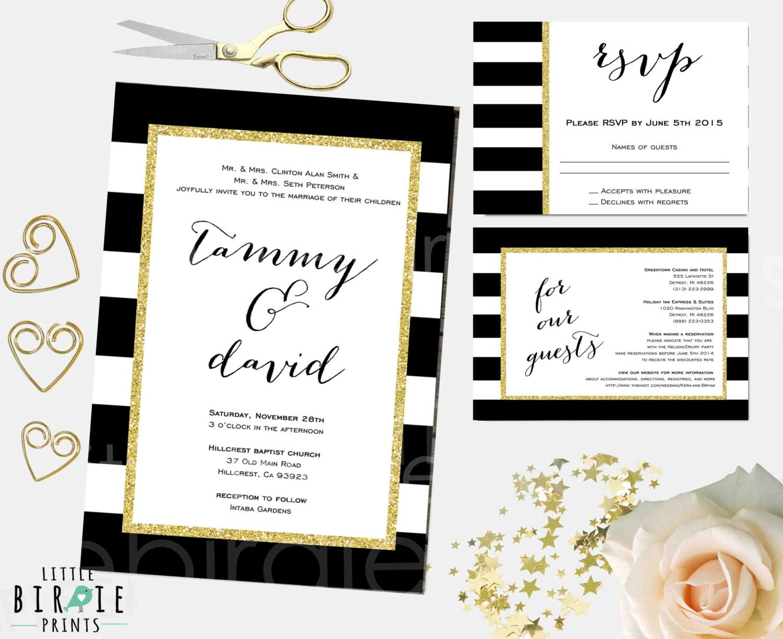 Black White Gold Wedding Invitations: WEDDING INVITATION Black White Gold Glitter Stripes
