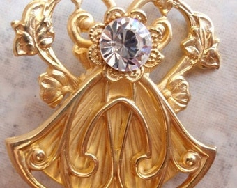 Jane Angel Brooch Pin Gold Tone Rhinestone Vintage 062713MF