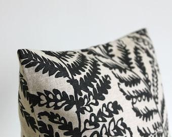 Linen Pillow Cover, 18 Inch Pillow Cover, Fern Pillow Cover, 18x18 Pillow Sham, Cushion Cover, Throw Pillow Cover - Fern Black