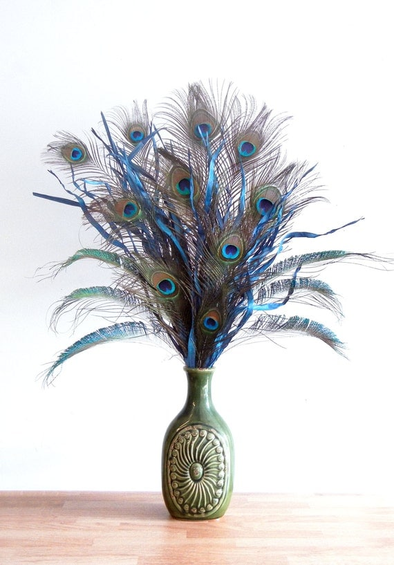 New large blue and green peacock feather floral