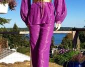 Vintage PURPLE Metallic India Cotton Gauze Hippie Pants L XL
