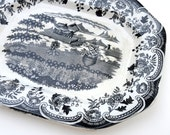 Black Transferware Platter, Ironstone, Kann Reuther, Frauer & Co. Vintage