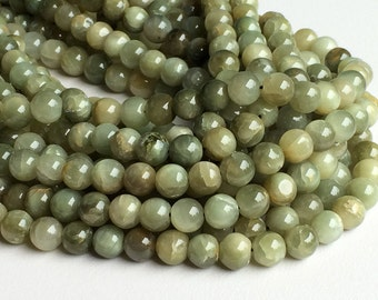 Cats Eye Stone, Cats Eye Rondelle, Green Cats Eye Beads, Chrysoberyl, Cats Eye Necklace, 7.5mm Beads, 14 Inch Strand, Wholesale