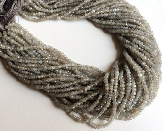 5 Strands WHOLESALE Grey Moonstone Micro Faceted Rondelle Beads, Grey Moonstone Beads, Moonstone Necklace Size 4mm - 4.5mm, 13 Inch